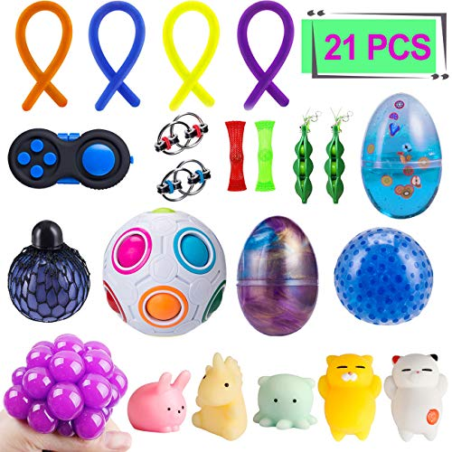Elongdi Sensory Fidget Toys Set [ 21 Pack ] Bundle Sensory Toys Set - Fidget Pad/Mochi Toys/Squeeze-a-Bean/Magic Ball/Stretchy Strings/Bike Chain/Mesh Marble/Squeeze Toys/Fluffy Slime