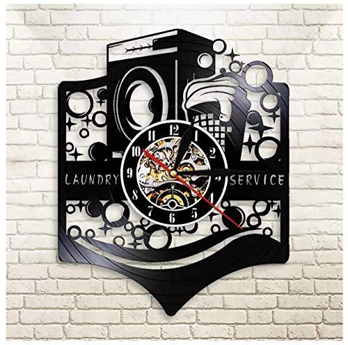 Retro Schallplattenuhr Waschmaschine Retro Vinyl Wanduhr mit upcycling Design Uhr Wand-deko Wand-Dekoration 12-Zoll(Keine Lichter)