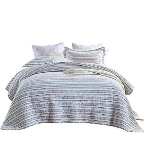 Classic Stripe Bedspread Comforter Throw Double Queen Size 3PCS Quilt Set 100% Cotton Quilted Coverlets Super Soft All Season Multifunction Blanket 230x250cm With 2 Pillowcases 50x70cm