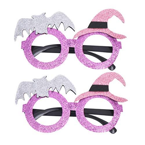 Amosfun - 2 gafas de Halloween con lentejuelas brillantes para Halloween (morado)
