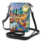 XCNGG Borsa piccola per cellulare W-innie P-ooh Cartoon Crossbody Bags for Women's Crossbody Handbags Cell Phone Purse Waterproof Leather Handbags Small Wallet