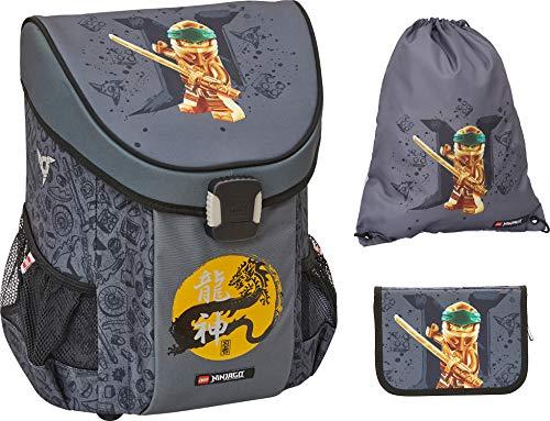Lego Bags Schulranzen Set Easy, 3 teilig, Ranzen nur 790 g, Schulset mit Lego NINJAGO Gold Motiv, Büchertasche ca. 39 x 29 x 22 cm, 18 Liter, Ranzenset mit gefüllter Federmappe und Sportbeutel