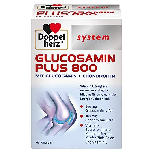 Doppelherz system GLUCOSAMIN 800 PLUS – Mit Vitamin C als Beitrag zur normalen Kollagenbildung für eine normale Knorpelfunktion – 60 Kapseln
