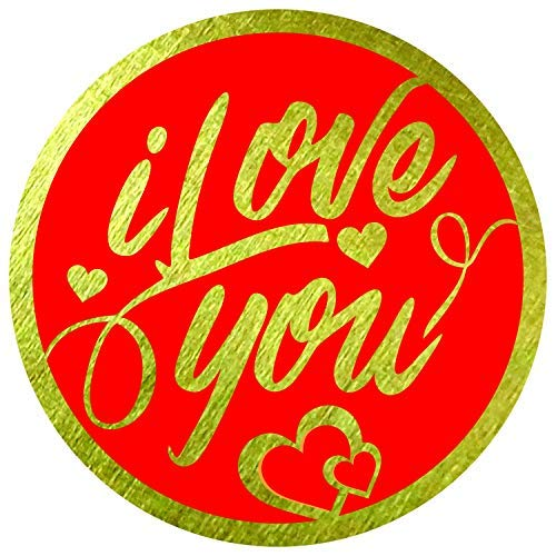 """I Love You Stickers Seals Labels (Pack of 120) 2"""" Large Round Gold Foil Stamping on Red for Valentines Day Cards Gift Envelopes Boxes"""