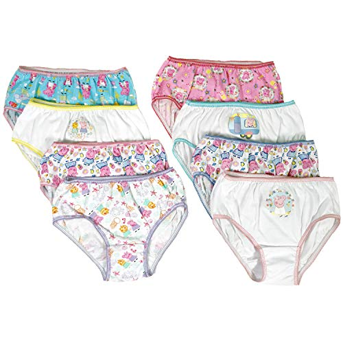 Peppa Pig Girls Panties Underwear - 8-Pack Toddler/Little Kid/Big Kid Size Briefs