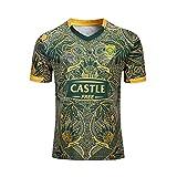 Maillot de rugby, Afrique du Sud Maillot de rugby pour homme Coupe régulière Sportswear Springbok, 7 ans, T-shirt décontracté pour sport (S-XXXL) - Bleu - Large
