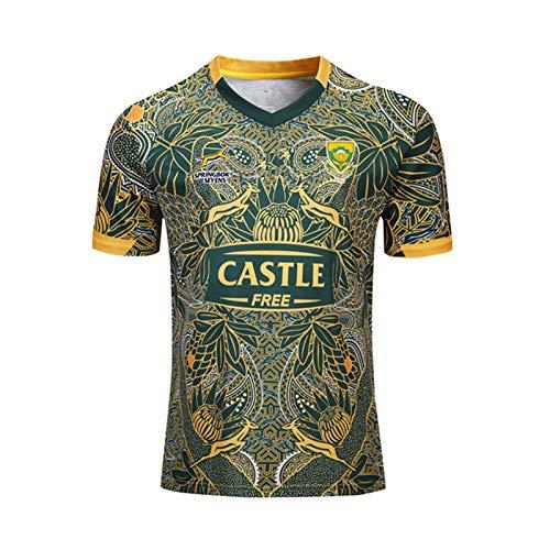 Hombres Rugby Jersey,SudáFrica Rugby Jersey Camisas De para Ropa Deportiva Regular Fit,Casual Redondo CháNdales Respirable Camiseta De Fútbol Polo Shirt S-XXXL XXXL