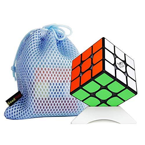FunnyGoo Valk 3 Elite M 3x3 Valk3 Elite M Magic Cube 3x3x3 Magic Puzzle Cube + EIN Würfelständer und EIN Würfelbeutel (Black Schwarz)