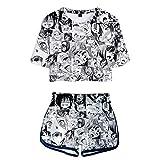 Mens Womens Hoodies Jacket Sweatshirts Female Waifu Hentai ahegao Shirts Crop Top Shorts Pants Cosplay Costume Gifts Sasuke Merch Teen Girls Clothes Anime Stuff outift Set mask L