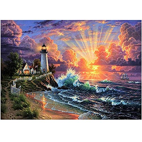 TFjXB DIY 5D Diamond Painting Kits,Crystal Rhinestone Embroidery Arts Craft for Home Wall Decoration,Sunset Landscape Decoration Painting