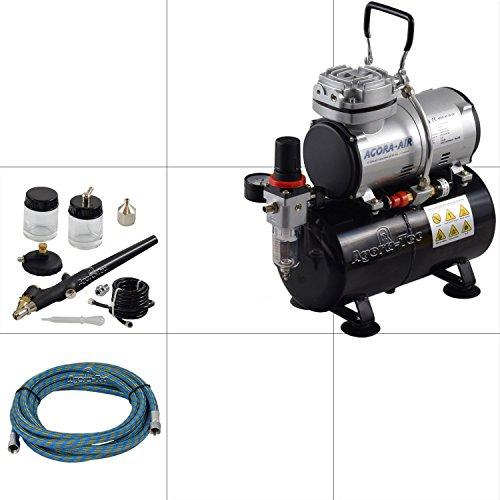 Agora-Tec® Druckluft Abstaub- und Reinigungs-Set mit leisen Mini Kompressor Schlauch und Druckluftpistole