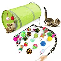 High Quality Materials : Each toy is made of high-quality materials, such as natural wood, catnip, sisal, elastic materials and feathers. They are non-toxic and tasteless, which will not harm the cat and can be safely played to cats. Best Gifts for Y...