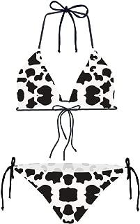 Womens Sexy Triangle Halter Bikini Set Two Piece with Tie Side Bottom Swimwear