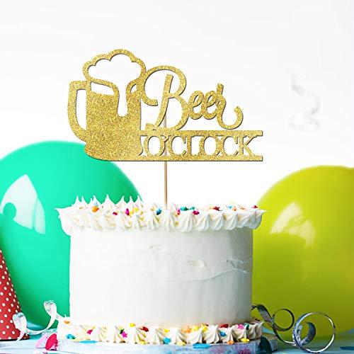 Tortenaufsatz - Individuell Bier O'Clock Geburtstagstorte Topper, Glitzerfarben, individuelle Kuchendekoration für Geburtstag, Jahrestag, Neugeborene, Hochzeit, Verlobung, Hochzeit, Geburtstag