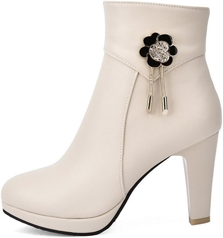 Garyline Women's Zipper Round Closed Toe High Heels Low Top Boots