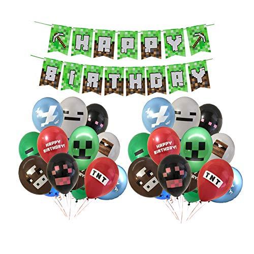 Smileh Minecraft Deko Geburtstag Video Game Partyzubehör Happy Birthday Banner Video Game Party Luftballons für Miner Gamer Party Favors Videospiel Party Zubehör