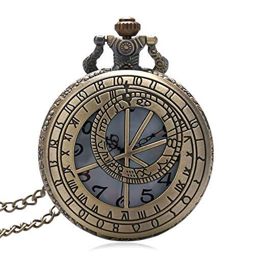 MOLUO Creatividad Tema de Cuarzo Hueco de la Cadena Pendiente de Bronce Fob Reloj de Bolsillo con el Collar de Regalo for los Hombres de Las Mujeres Reloj De Bolsillo