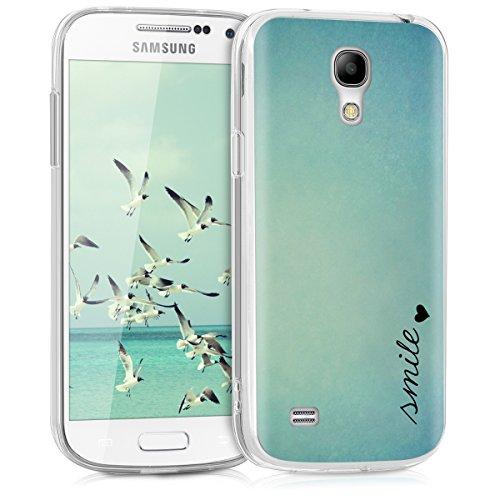 kwmobile Hülle kompatibel mit Samsung Galaxy S4 Mini - Handyhülle - Handy Case Smile Herz Blau Türkis