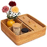 Rattan Basket Compartments Square Divided Organizer For Shelves 12.01 x 12.01 x 3.54 in Wicker Toilet Paper Basket For Storage Cubes And Organizing Bathroom (3-Divider, Honey Brown)