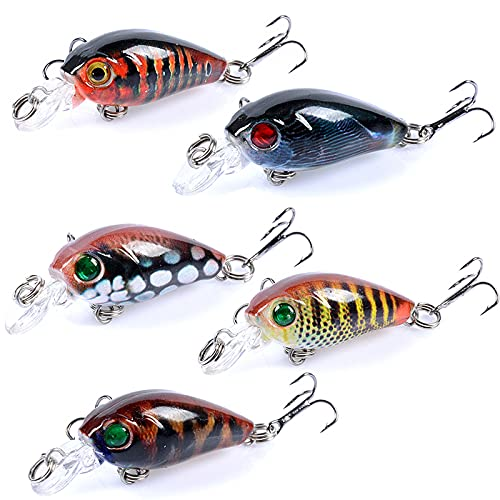 JDRYP Bionic Floating Topwater Lures,Five Color Combinations,for Freshwater Largemouth Bass,Sea Bass,Catfish,Trout,Walleye,Redfish,and Speckled Trout,Etc(5Pcs Suit 1.77'/0.14 oz)