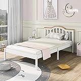 ModernLuxe Einzelbett Doppelbett Holzbett, Lattenrost Kiefer mit Kopfteil, Holzlattenrost, Liegefläche, Holzlattenrost, weiß (Weiß 90 x 200cm)