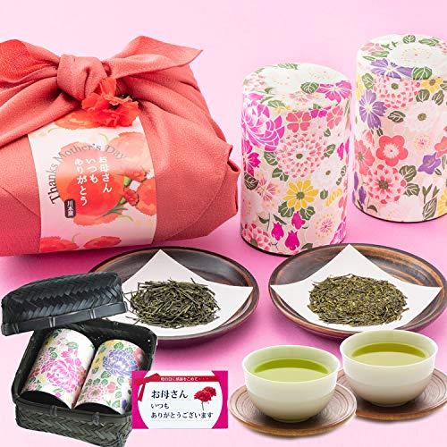 母の日 ギフト 竹かご入り 高級日本茶2種 静岡茶 掛川茶 風呂敷包み 川本屋茶舗