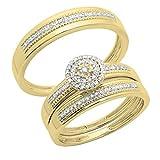 Dazzlingrock Collection - Anillo de compromiso de oro de 10 quilates con diamantes redondos de 0,27 quilates para hombre y mujer, conjunto de tres anillos de compromiso de 1/4 ct