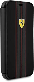 CG Mobile Ferrari Bookstyle Pu Leather Case for iPhone X and iPhone Xs Hard Cell Phone Cover Black with Contrasting Red St...