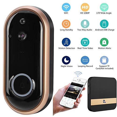 Kukudijie Doorbell WiFi, draadloze videobel 720P HD video Real-Time audio bidirectioneel IR nachtzicht app PIR Motion Burglar voor iOS, Android