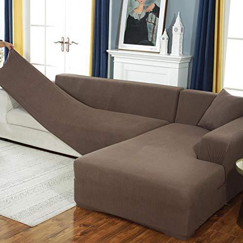 GJHGJ Fundas de sofá de Terciopelo para Sala de Estar Funda de sofá seccional sólida Funda elástica Decoración para el hogar Fundas Sofá Slipover Calidad superior-style14,1-Seat 90-140, Polonia