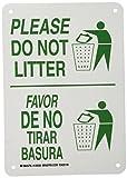 Brady 125529 Bilingual Sign, Legend'Please Do Not Litter/Favor De No Tirar Basura', 10' Height, 7' Width, Green on White