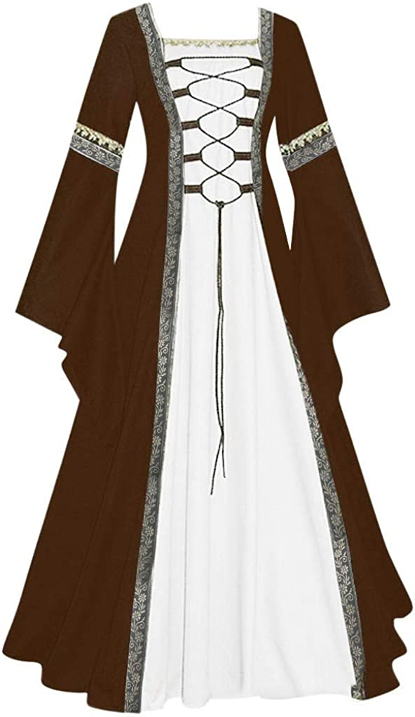 Gerichy Halloween Costumes for Women Retro Long Sleeve Fancy Medieval Gothic Dress Party Long Princess Bow Dress
