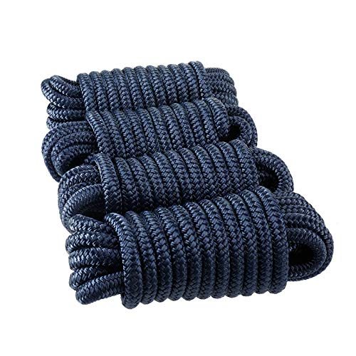 Amarine Made Double Braided Nylon Dock Lines 4840 lbs Breaking Strength (L:25 ft. D:1/2 inch Eyelet: 12 inch) 4 Pack of Marine Mooring Rope Boat Dock Lines Working Load Limit:968 lbs