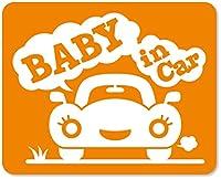 imoninn BABY in car ステッカー 【マグネットタイプ】 No.25 クルマさん (オレンジ色)