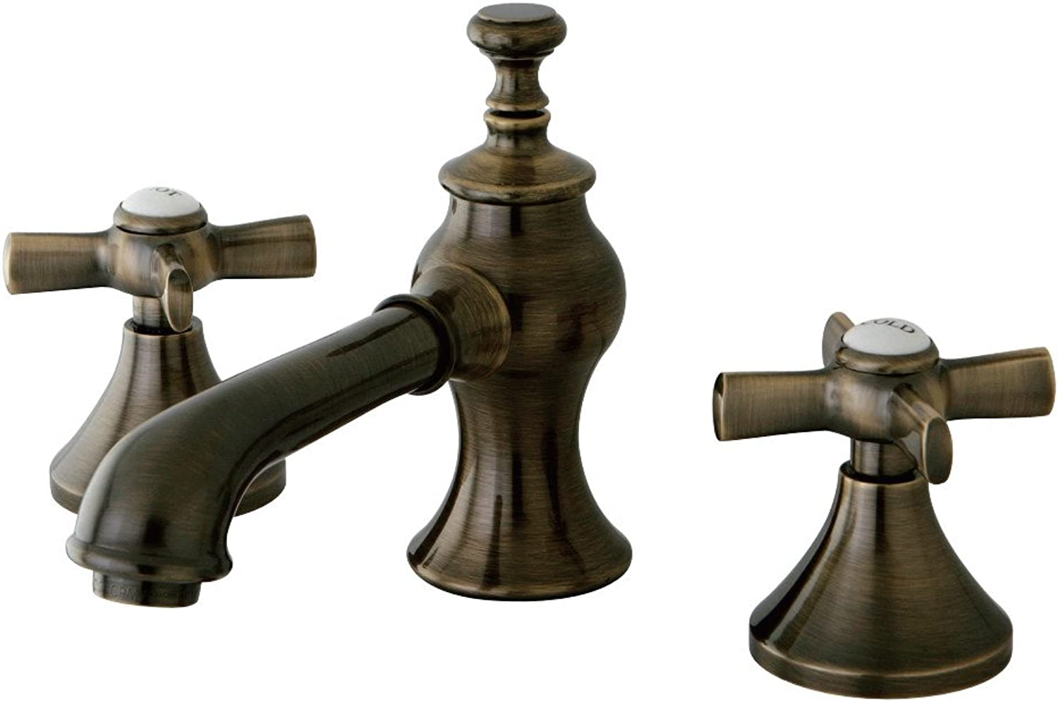 Kingston Brass KS706.ZX English Country Widespread Bathroom Faucet with Metal Cr, Vintage Brass