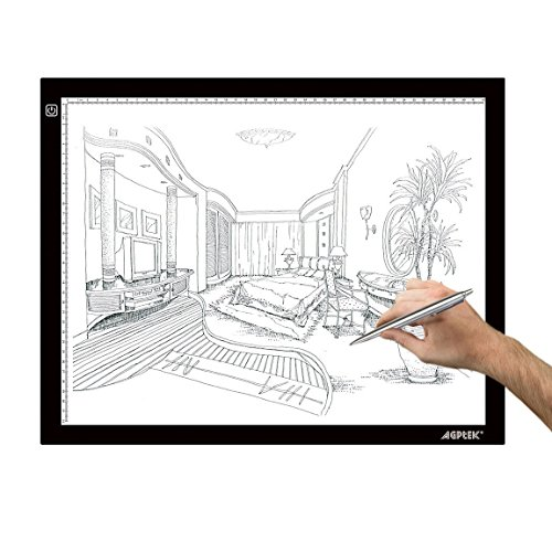 A3 Light Box, AGPtek LED Artcraft Tracing Light Pad Ultra-Thin USB Power Cable Dimmable Brightness Tatoo Pad Animation, Sketching, Designing, Stencilling X-ray Viewing W/USB Adapter (PSE Approval)