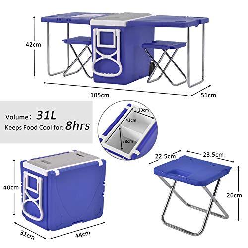 SIRUITON koelbox op wielen, grote picknick tafel voor camping/strand/BBQ/vissen/familie uitbreidbaar & opvouwbare tafel met 2 krukken