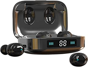 True Wireless Earbuds Liuxixi Bluetooth 5 in-Ear Headphones, 2000mAh Display Charging Case IPX7 80H Playtime Noise Cancelling Binaural Stereo Call Touch Control Deep Bass Mini Earbuds for Sports
