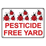 Weatherproof Plastic Pesticide Free Yard Sign with English Text and Symbol