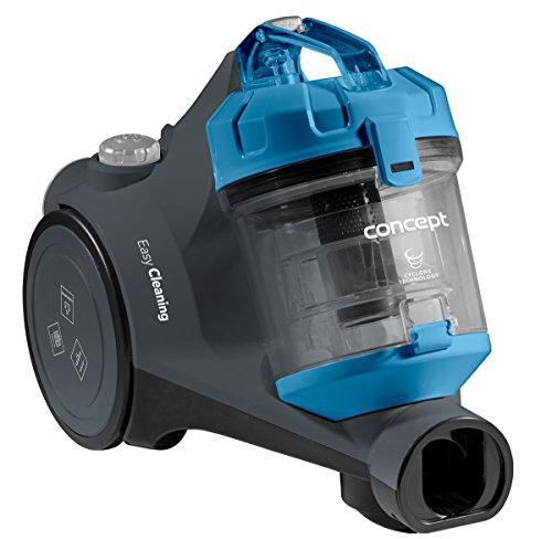 CONCEPT Hausgeräte VP5210 Zyklon-Staubsauger, HEPA-Filter 12, 6-stufige Filterung, Aktionsradius 8 m, 76 dB, 2 L, 700 W, Blau