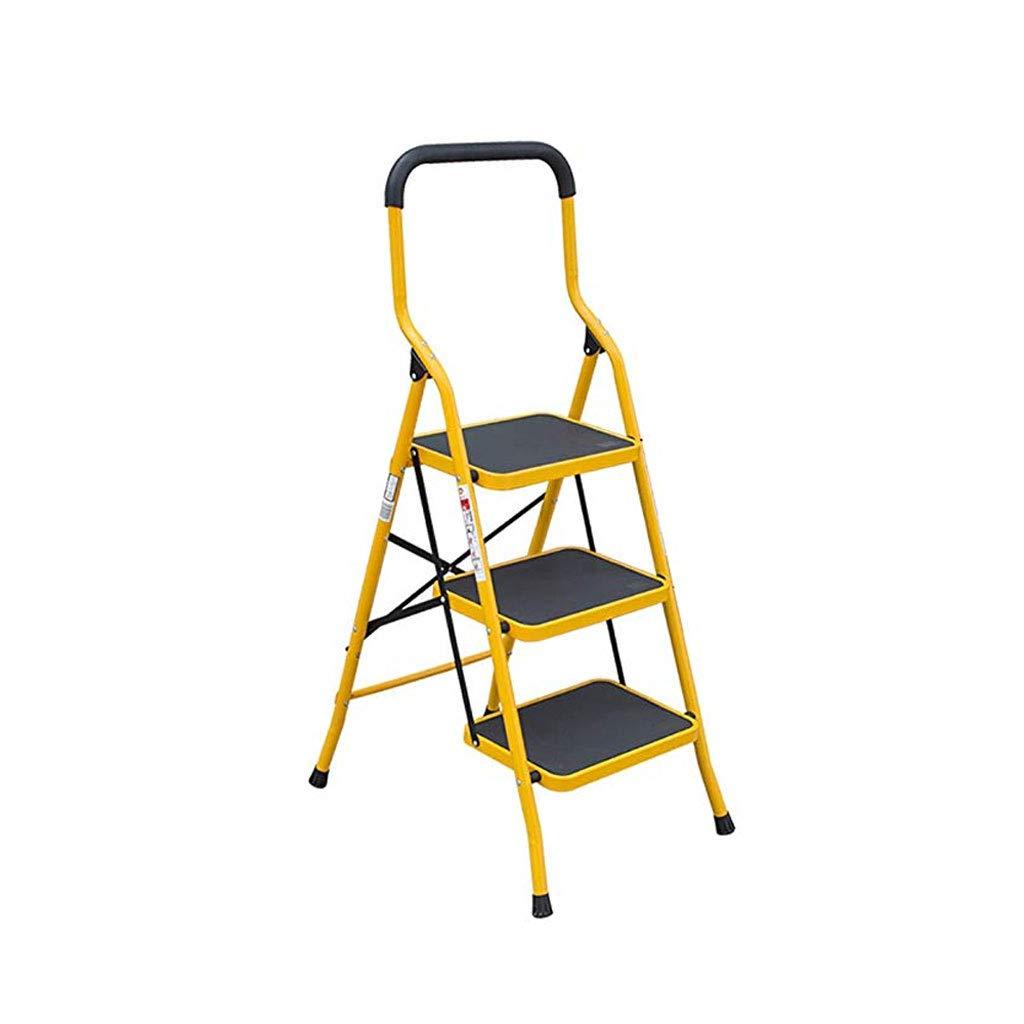 TLTLTD Escalera Plegable Para Uso Doméstico, Pedal Ensanchado Reposabrazos Lateral De Espiga De Pata De Cabra 2 Pasos 3 Pasos Escalera De Extensión Ascendente, Amarillo (Color : 3 steps): Amazon.es: Bricolaje y herramientas
