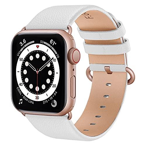 Fullmosa kompatibel mit Apple Watch Armband 44mm 40mm 42mm 38mm, Lederband Ersatzband für Damen Herren, Klassische Leder Armbänder für iWatch 6/SE/5/4/3/2/1 Armband,Braun + Roségold Hardware 38/40mm