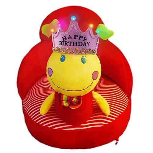 VERCART Fauteuil Enfant Garçon Fille Chaise Rembourrée Coussin de Sol Pouf Bébé Siège Doux Animal Cadeau d'anniversaire Clamoiselle Rouge