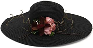 New Summer Fashion Women's Wide-Brimmed Sunscreen Beach Hat Elegant Flowers Casual Charm ` TuanTuan (Color : Black, Size : 56-58CM)