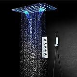 CGGDP Sistema de Ducha, Sistema de Ampliación empotrada LED Cascada Ducha de la precipitación con 4 Tipos (Precipitaciones Rain Curtain SPA nebulización, Masaje) y Control Remoto,mobilephonecontrol