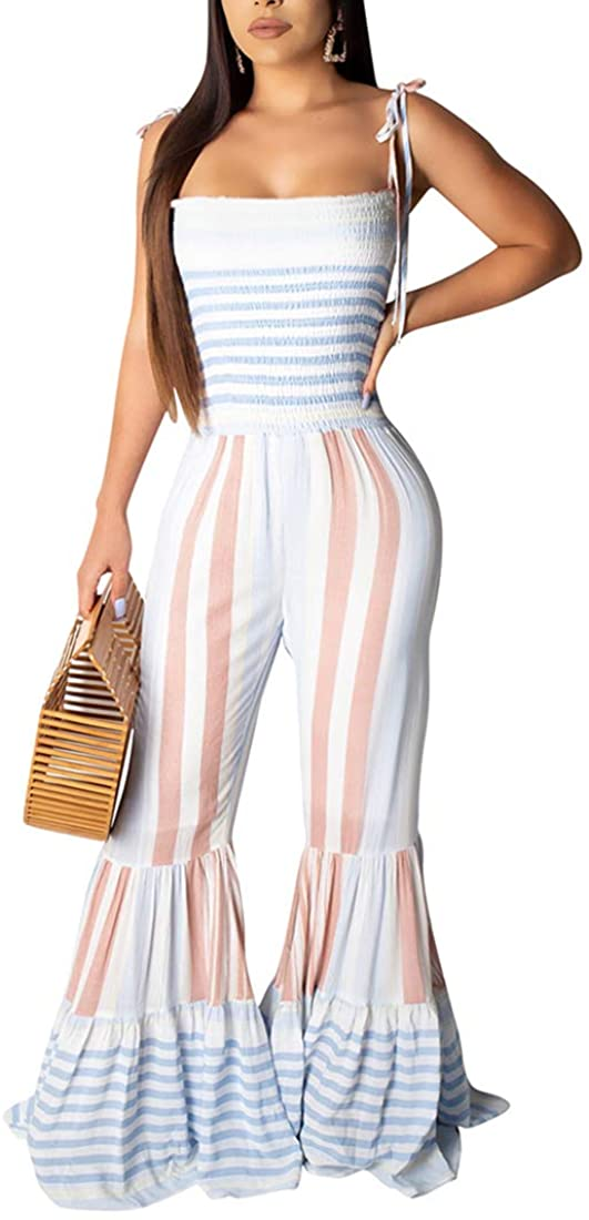 ECHOINE Women Bell Bottom Quality inspection Playsuit Col Max 61% OFF Spaghetti Jumpsuit Strap