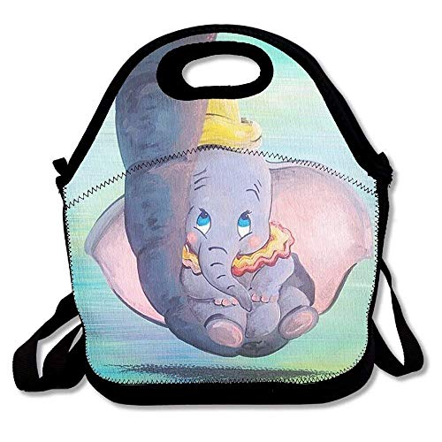 Neoprene Lunch ToteAdjustable Shoulder Strap Dumbo Being Held By His Mother's Trunk Carrying Gourmet Lunchbox Container,Reusable Insulated Waterproof School Picnic