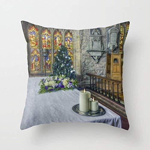 N\\A Europäische Kerzen im mittelalterlichen Stil zu Weihnachten und Baum Home Indoor für Dekor Modestil Comfortanble Cotton Square (Zwei Seiten)