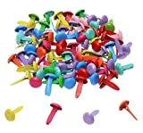 Penta Angel Mini Brads 100Pcs Assorted Colors Paper Fasteners Round Brass Metal Pastel Brads for Scrapbooking Crafts DIY Projects, 8x12mm (8x12 mm)