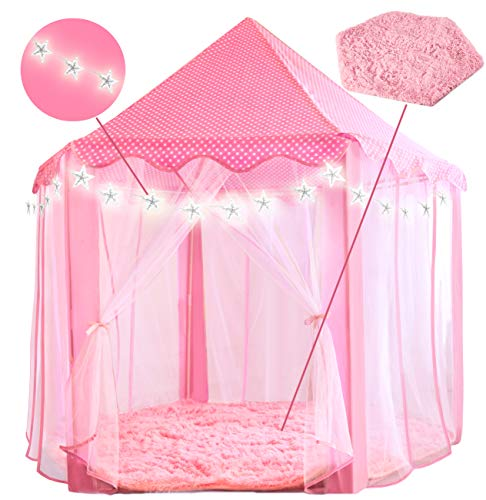 PLAYVIBE 55'' X 53'' Princess Tent for Kids - Includes Ultra Soft Rug & Star Lights | Girls Play Tent | Little Girl Toys for 3/4/5/6/7/8/9 Year Old Girls | Kid Toys